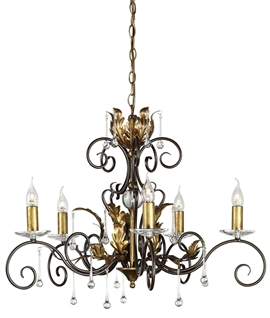 Scroll & Crystal 5 Light Ornate Chandelier
