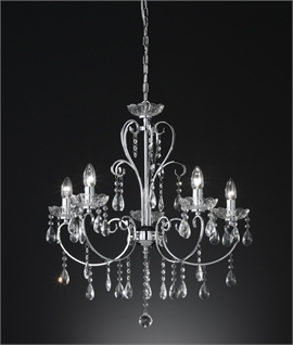 Chrome & Glass Crystal 5 Light Chandelier