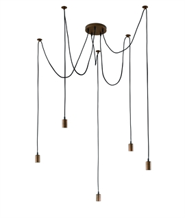 Minimalist Bare Bulb 5 Light Spider Pendant - Black Copper