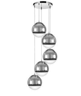 5 Light Hanging Ball Pendant - Chrome and Glass