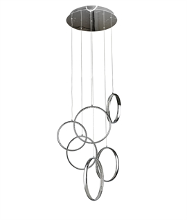 Chrome LED Multi Circle Pendant 6 Rings - 1.6m Drop