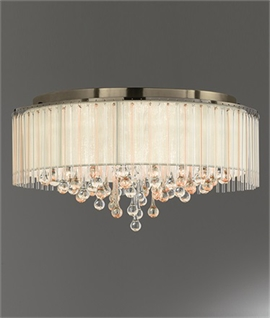 Crystal Droplet & Bronze Lurex Shaded Flush Light