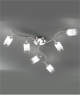 Ceiling Bar with 6 Glass Lamp Heads - G9 Lamps