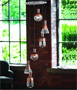 Multi-Drop 6 Light Pendant with Copper & Glass