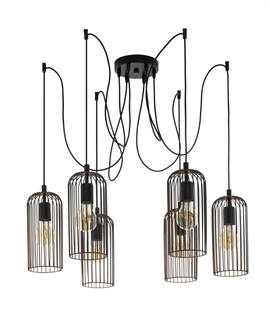 Black and Copper Cage Six Light Off-Set Hanging Pendant