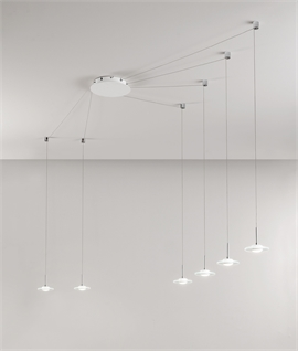 White LED Offset Pendant with Clear Glass Shades