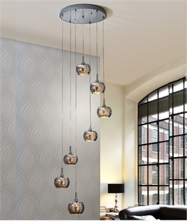 Long Drop LED Pendant with Smoked Glass Shades -  Two Sizes