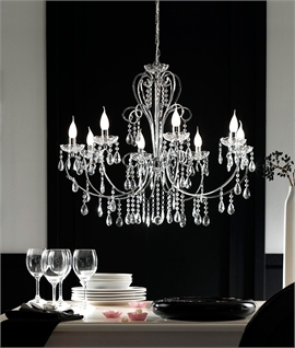 Chrome & Glass Crystal 8 Light Chandelier