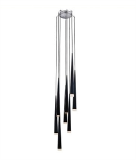 Long Drop 8 Shade Light - Black, White or Chrome