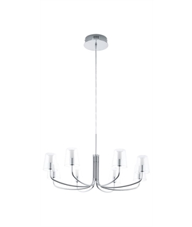 Chrome LED Chandeliers - Clear Glass