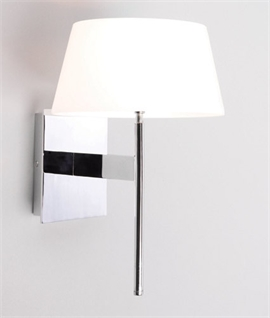 Slim Bedside Wall Light in Polished Chrome with Opal Glass