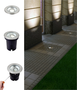 Adjustable LED Recessed Ground Light - Larger Size For Facade Lighting