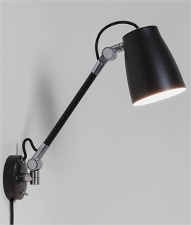 Adjustable Friction-Arm Wall Light with Rocker Switch