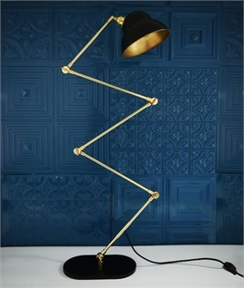 Extendable Gold and Black Scissor Floor Lamp