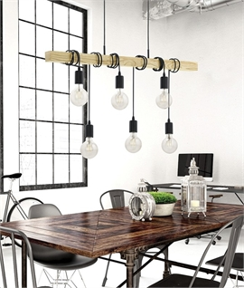 Oak Wood Bar Pendant - Adjustable Lamp Flexes & Two Sizes