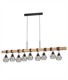 Oak Wood Bar Pendant with Caged Lamp Flexes