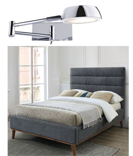 Chrome Extending Bedside Reading Light - Low Energy