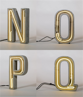 Neon N to Z Letters in Concrete - IP44 Rated