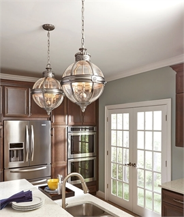 Vintage Orb Chain Suspended Light Pendant in Antique Nickel Finish
