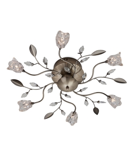 Flower & Leaf Semi Flush 6 Light