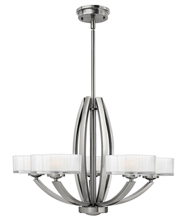 Polished Nickel Art Deco Style Chandeliers