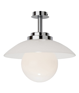 Art Deco Ceiling Light with White Glass