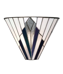 Art Deco Tiffany Glass Flush Wall Uplighter