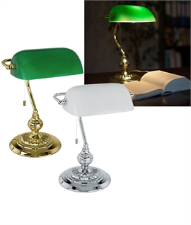 Bankers Glass Table Lamp - Brass or Chrome Finish