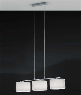 Long Drop 3-light Pendant Bar with 3 White Fabric Shades