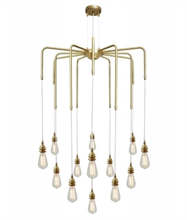 Bare Lamp 13 Arm Spider Chandelier