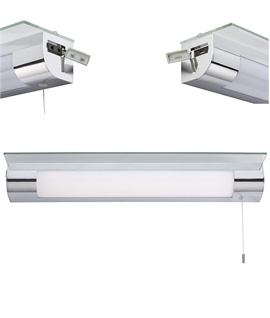 Bathroom illuminated shelf with shaving socket and USB charger built in