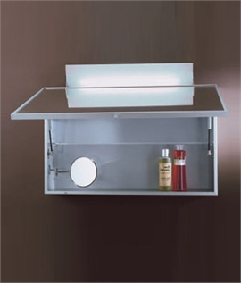 Aluminium Bathroom Cabinet with Lift Up Mirror and Light - Half Price