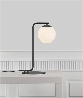 Bauhaus Style Table Lamp With Opal Glass Globe