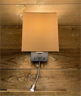 Small Bronze Bedside Wall Light with LED Reading Light