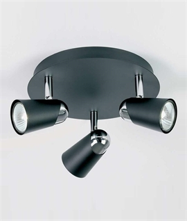 Triple Spotlight on Round Ceiling Plate