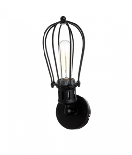 Black Adjustable Metal Cage Wall Lamp