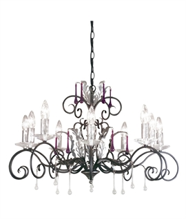 10 Light Ornate Chandelier - Scrolls & Crystals