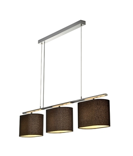 Bar Pendant Light with Three Textile Shades