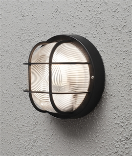 External wall lights lighting styles caged bulkhead exterior wall light ip44 rated mozeypictures Image collections