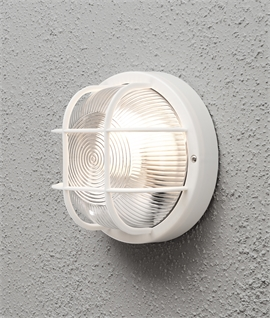 Caged Bulkhead Exterior Wall Light - IP44 Rated