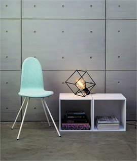 Modern Caged Cube Table Lamp with Bare Lamp
