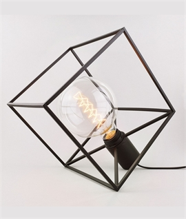 Modern Caged Cube Table/Pendant Lamp with Bare Lamp
