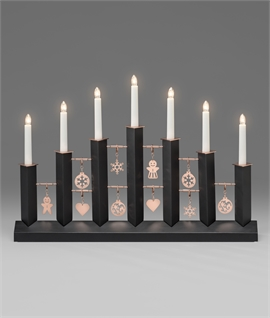 Black Christmas Candlestick - Complete with Decorations