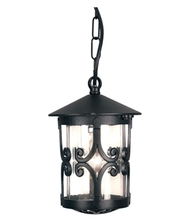 Black Scroll Chain Porch Lantern