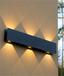 Wide Up & Down Exterior Black LED Wall Light