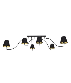 Flush Mounted 6 Arm Swivel Chandelier - 3 Finishes