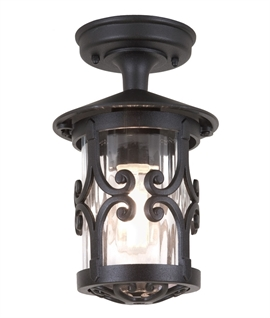 Black Scroll Fixed Porch Lantern