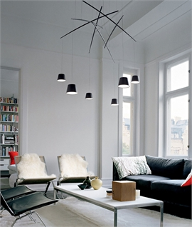 Suspended Pole LED Pendant in Black or White