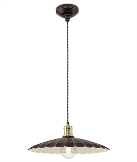 French Style Scalloped Edge Metal Light Pendant in 2 sizes