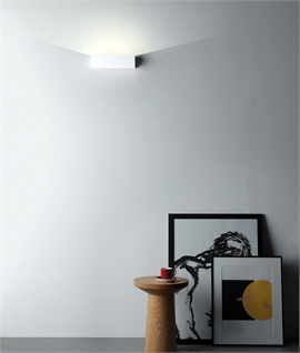 Block LED Wall Mounted Uplight In Smooth Natural Plaster - Paintable